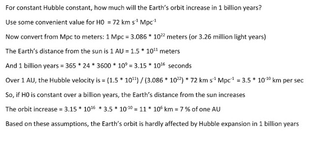 Summary of calculations for Hubble expansion across just 1 AU (Source: Palmia Observatory)