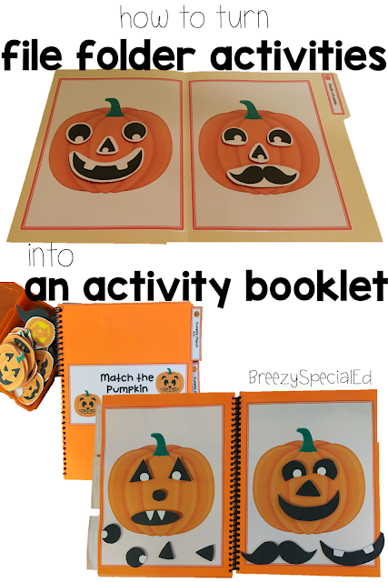 How to turn file folders activities in an activity booklet for special education and more