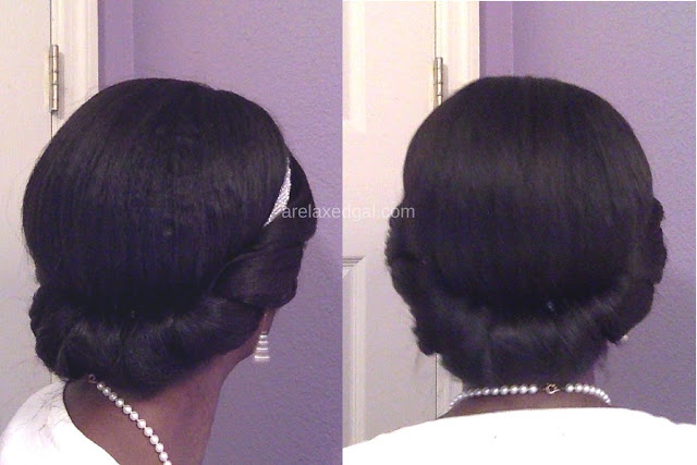 See how you can protect the ends of your relaxed hair without sacrificing style during the Christmas season with this pretty, easy holiday party hairstyle. | arelaxedgal.com
