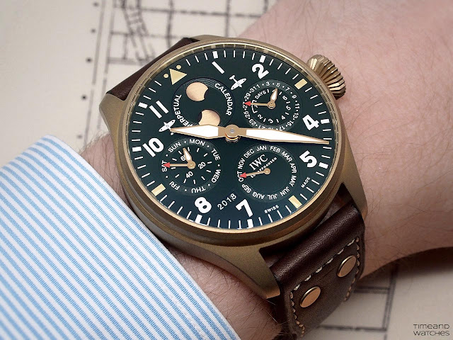 IWC Big Pilot's Watch Perpetual Calendar Spitfire IW503601 on the wrist