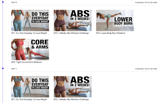 Screenshot of workout videos for days 10 and 11