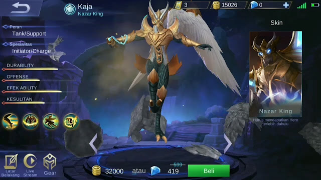 kaja, hero baru, mobile legends, mlbb, nazar king