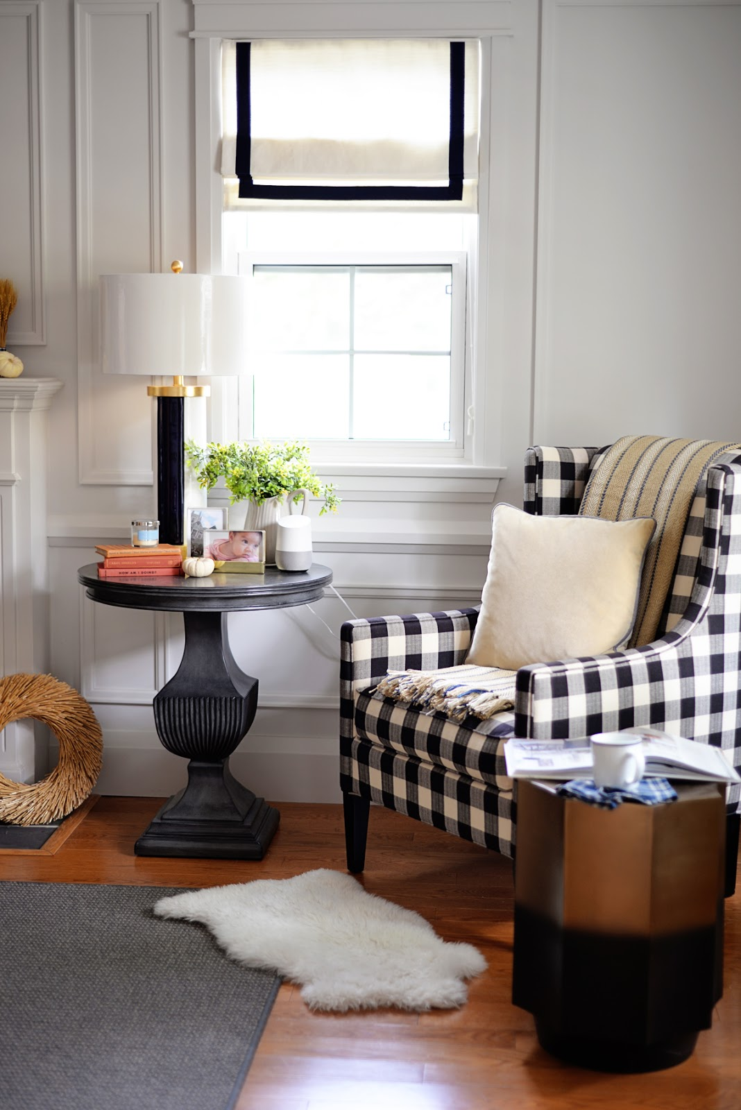 buffalo plaid chair and fall accessories