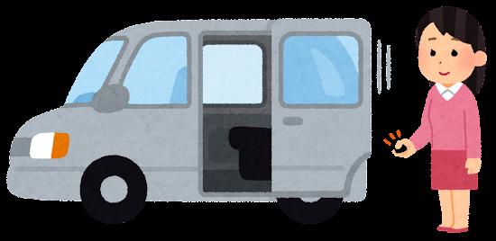 スライドドアの自動車のイラスト(リモコン)
