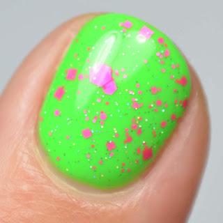 neon pink glitter nail polish