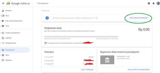 verifikasi pembayaran google adsense dengan bank BCA