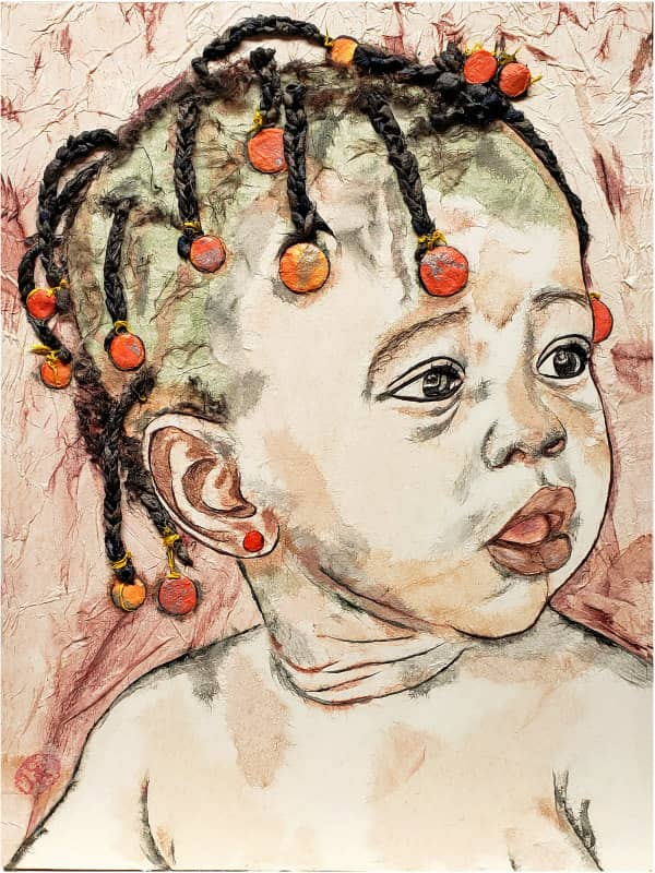 portrait of toddler girl with short hair braids made of hanji fibers