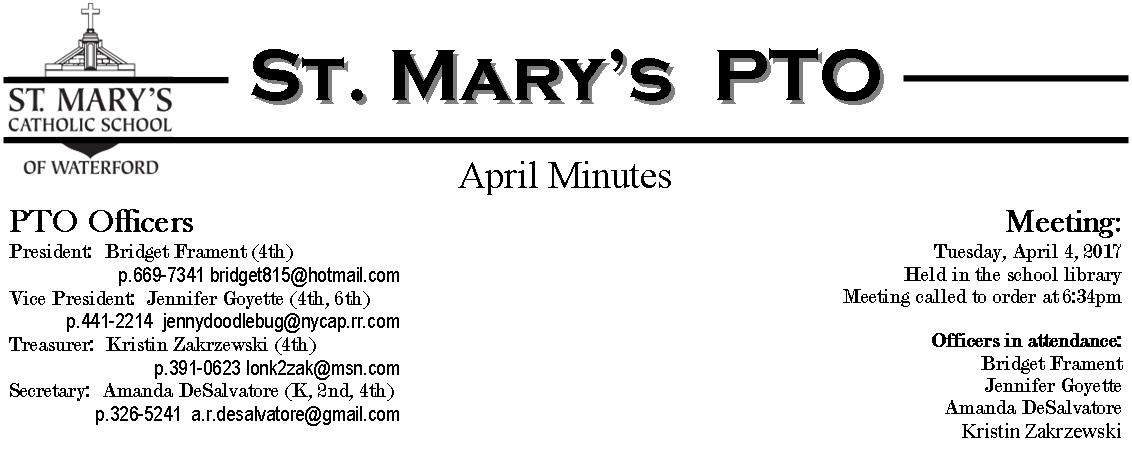 St. Mary's PTO: April Minutes