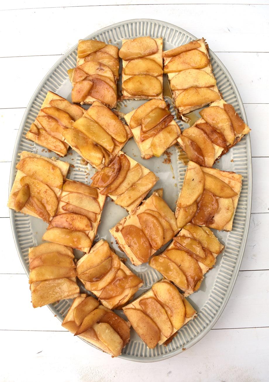 tray of caramel apple cheesecake bars