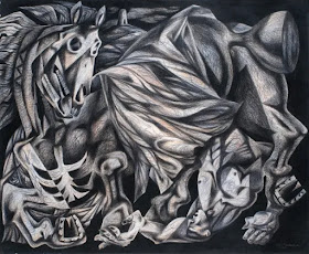 Clive Hicks Jenkins: Stumbles and Cannot Rise from Mari Lwyd series (National Museum Wales)