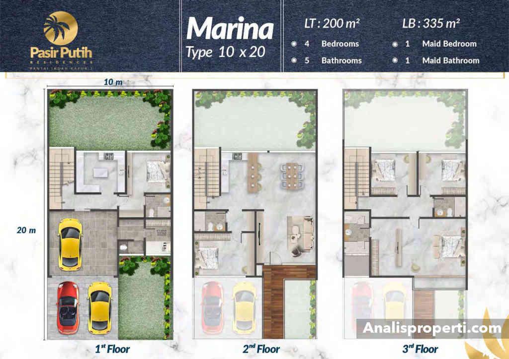 Denah Rumah Villa Pasir Putih 1 Tipe Marina