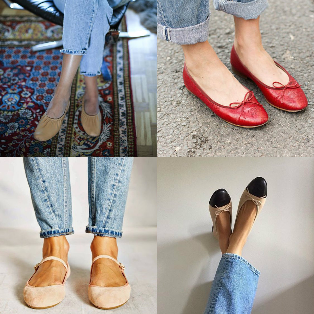 ballet shoes, ballet flats, ballet pumps, faded vintage denim