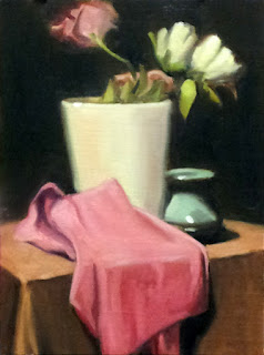 Oil painting of a large white vase with flowers, a small blue vase, and a pink piece of material.