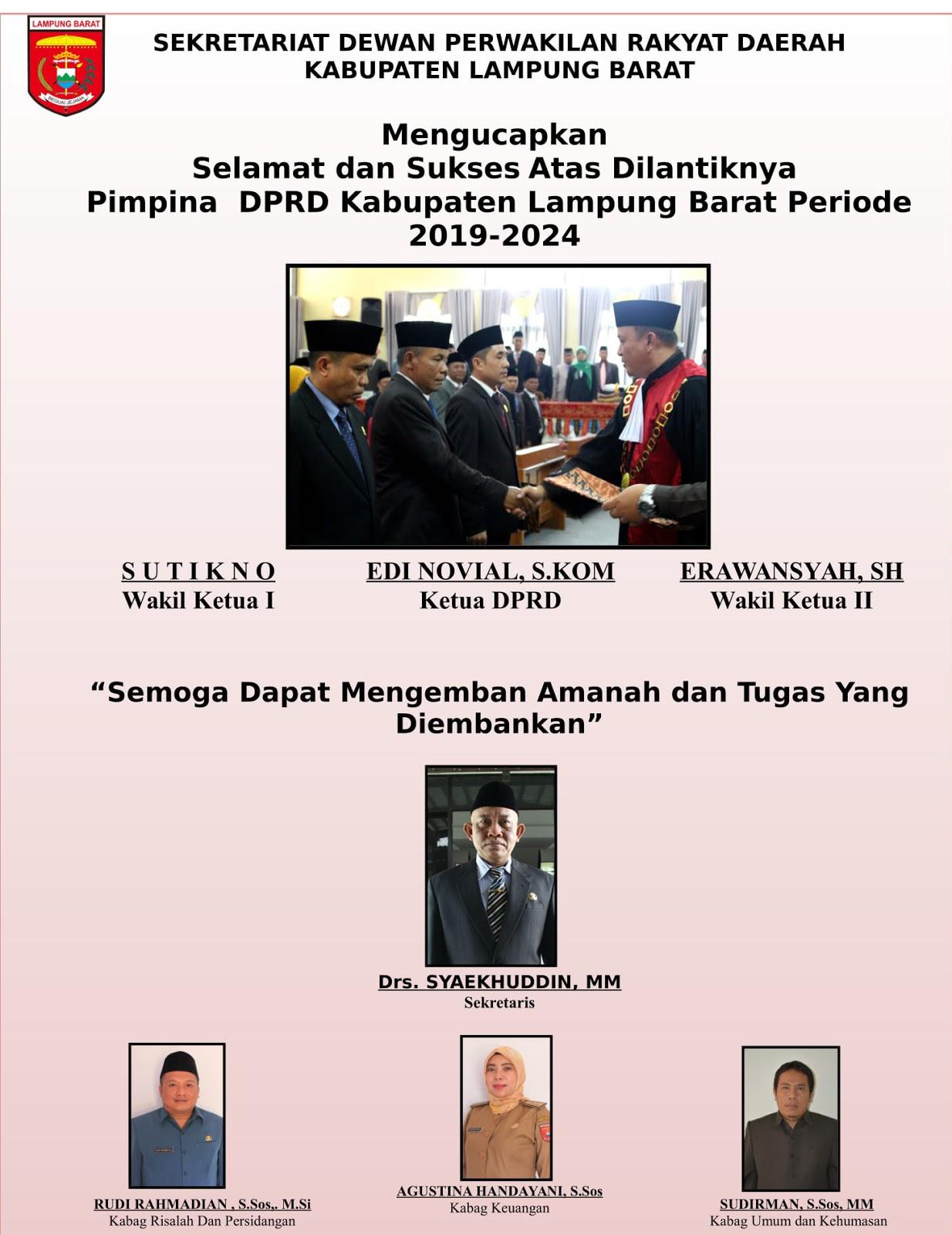 Sekretariat DPRD Lambar: Selamat Pelantikan Ketua dan Wakil Ketua DPRD