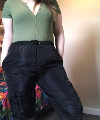 Black Cuffed Cargo Trousers*
