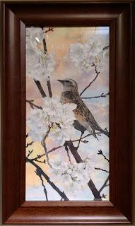 松江利恵さんの水彩画 美しい時 桜の木の枝に止まるヒヨドリ