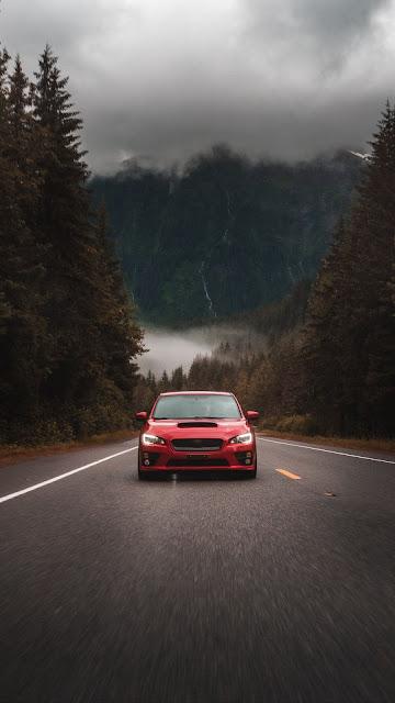 Subaru Sti, Subaru, Red Car, Facade, Road, Asphalt
