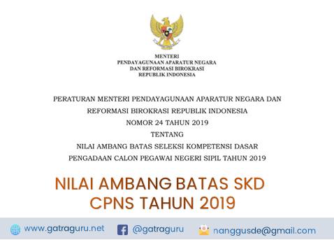 Nilai Ambang Batas SKD Seleksi CPNS Tahun 2019