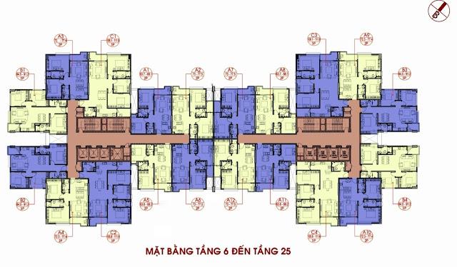 Mặt bằng điển hình tầng 6 - 25