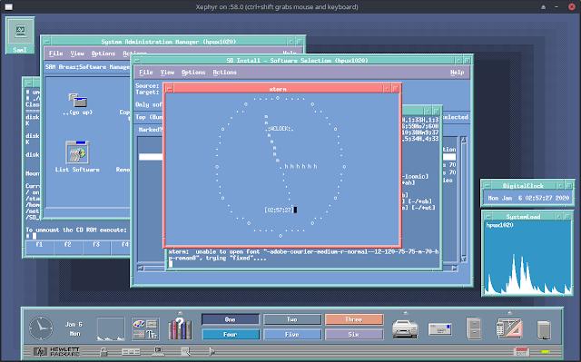 aclock vt100 C ascii art clock program by Antoni Sawicki running on HPUX 10.20 under QEMU PARISC HP-9000 700 series server