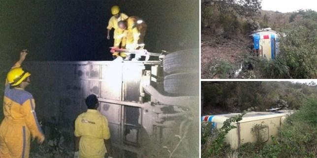 Ônibus da Novo Horizonte capota na região de Seabra e passageiros ficam feridos