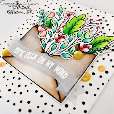 You've Been On My Mind Card by Samantha Mann for Butterfly Reflections Ink, Avery Elle, Birthday Card, Zig Clean Color Real Brush Markers, Watercolor, Die cutting, Altenew #butterflyreflectionsink #brimoodboard #brimoodboardchallenge #averyellestamps #averyelle #altenew