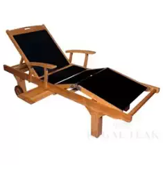 Natural Teak Outdoor Patio Wooden Black Batyline Chaise Lounge Chair