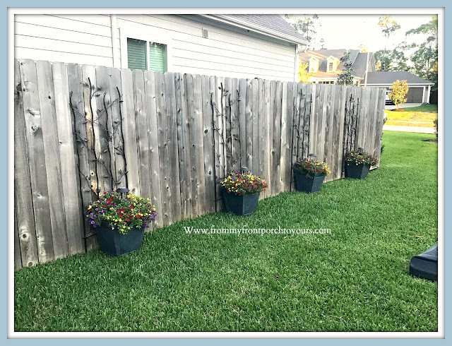 Front- Yard-DIY-Potted- Garden-Flowers-Trellis-Solar-Lights-From My Front Porch To Yours