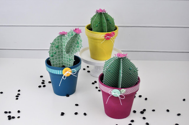3D Paper Cactus Cut File in Spray Painted Terracotta Pots by Jen Gallacher for www.jengallacher.com and Scrapbook & Cards Today Magazine. #papercactus #papersucculent #silhouette #diecutting