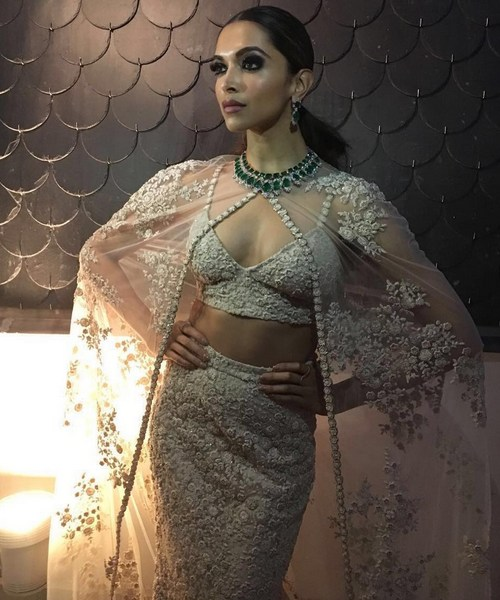 Deepika Padukone in White Sabaysachi Gown and Netted Cape