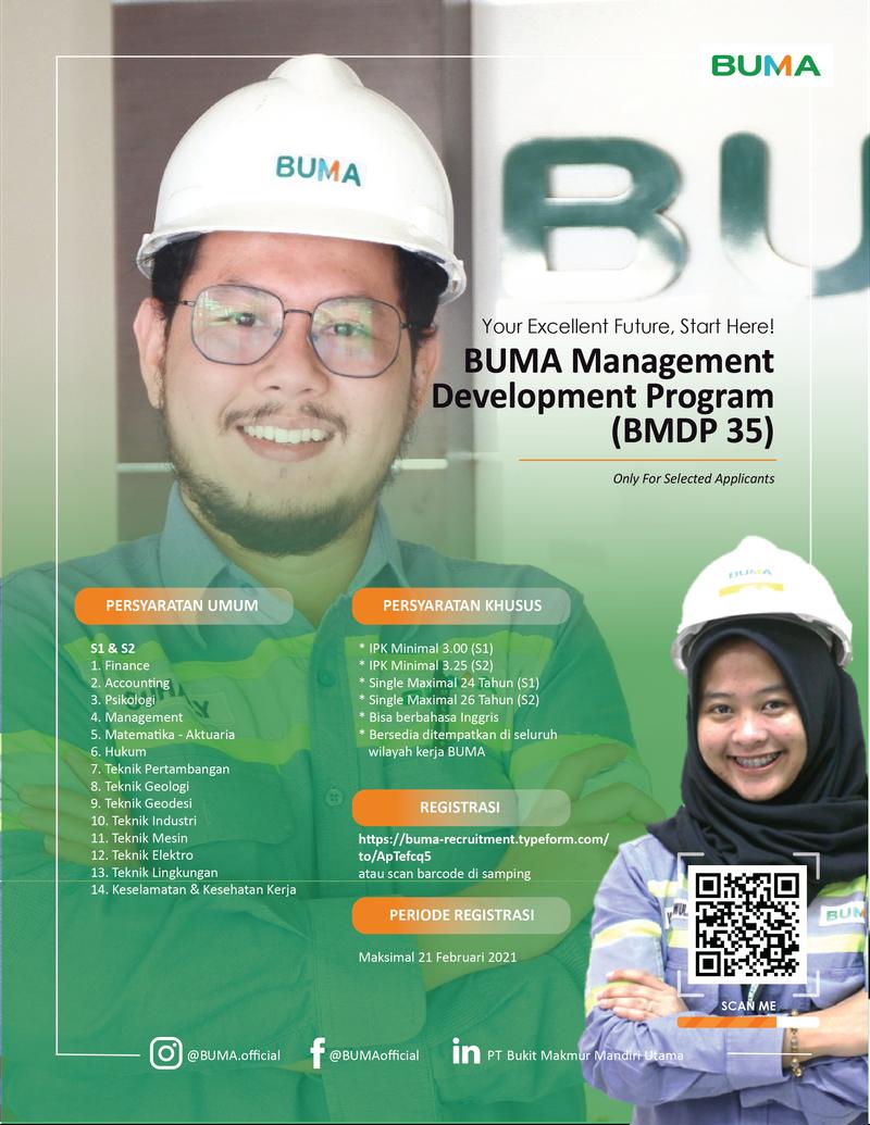 Management Development BUMA PT Bukit Makmur Mandiri Utama Februari 2021