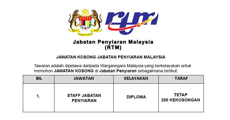 Jawatan Kosong di Jabatan Penyiaran Malaysia KKMM [ 200 Kekosongan Seluruh Negeri ]