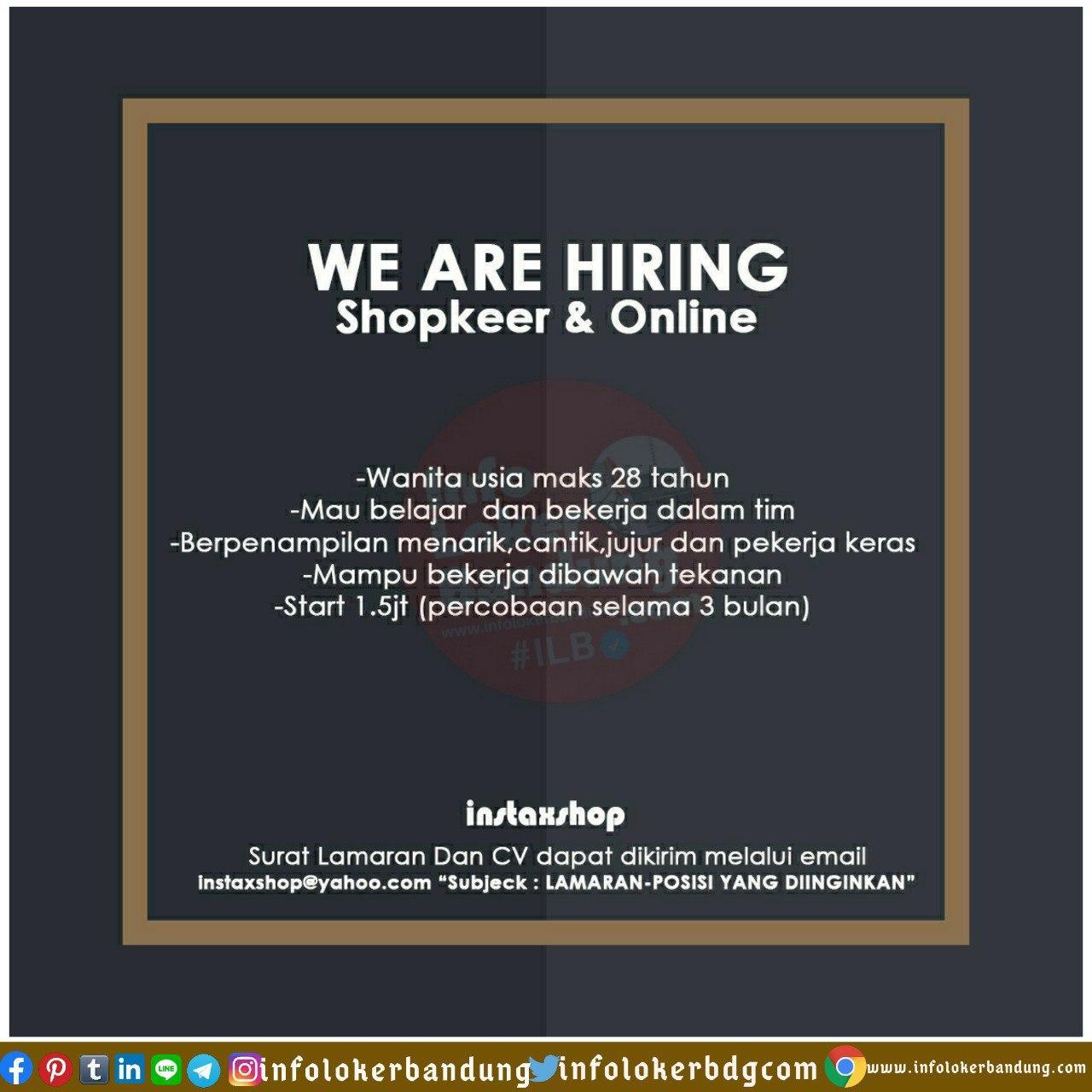 Lowongan Kerja Shopkeeper & Online Instaxshop Bandung Juli 2020
