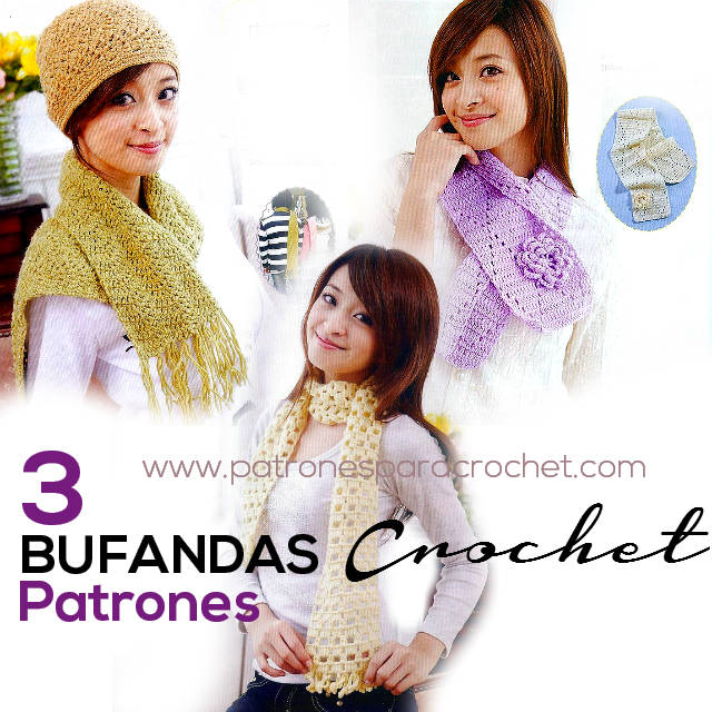 3 Patrones de Bufandas para tejer al crochet | Patrones para Crochet