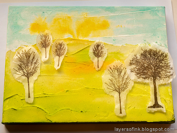 Layers of ink - Spring Canvas Mixed Media Tutorial by Anna-Karin Evaldsson.