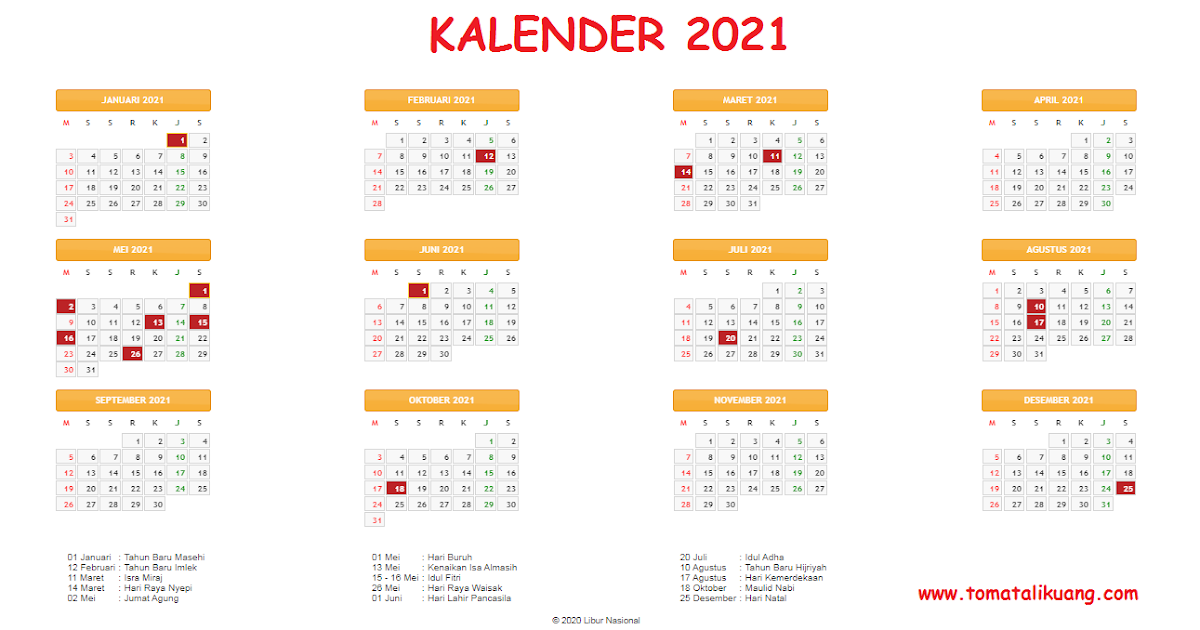Kalender 2021: Daftar Hari Libur Nasional & Cuti Bersama ...