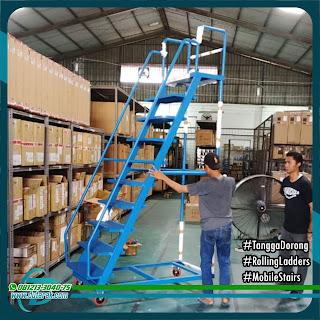 Tangga Dorong Gudang dan Supermarket, ROLLING lADDERS, Mobile Stairs