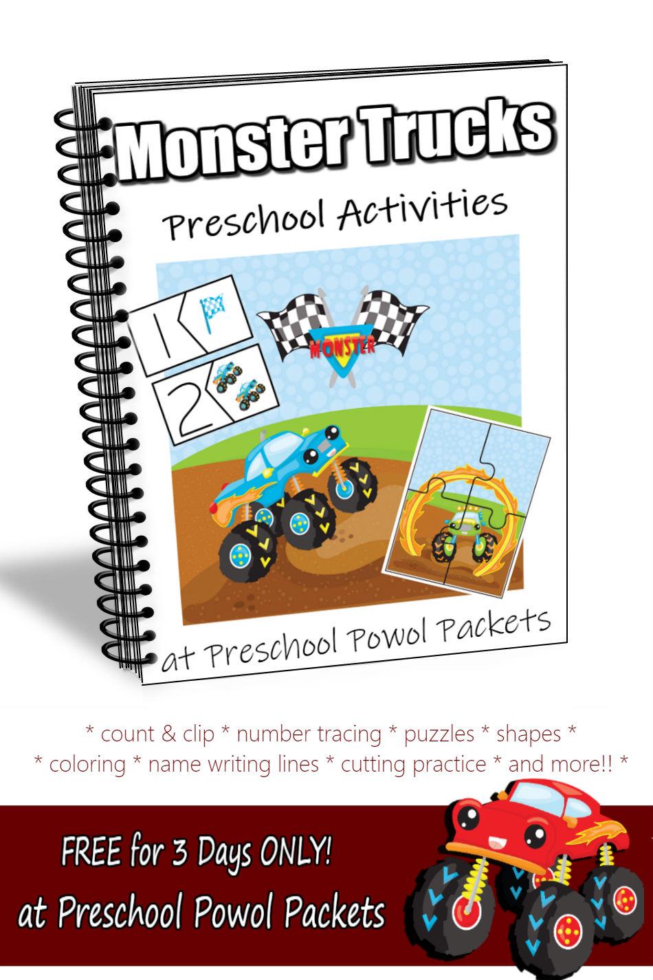 Monster Trucks Preschool Activities Packet Free For 3 Days Only Preschool Powol Packets