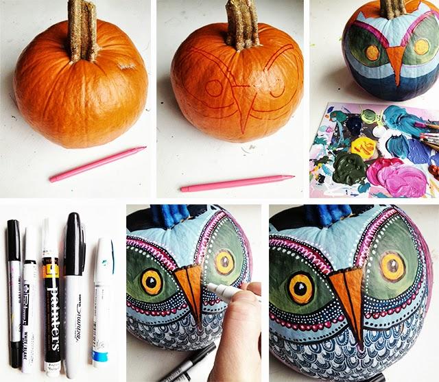 Creative Painted Pumpkins: Alisaburke: Painted Owl Pumpkins