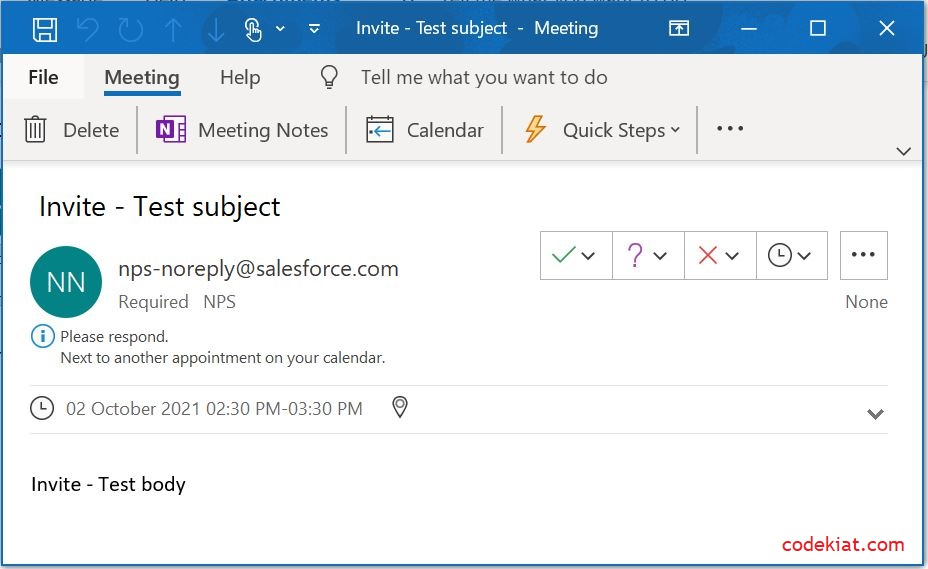 Outlook calendar invite from salesforce apex