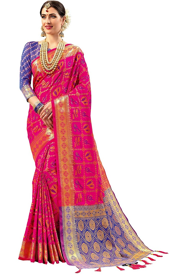 EthnicJunction Double Ikat Vibrant Patola Woven Art Silk Saree With Unstitched Heavy Designer Woven Silk Blouse Piece