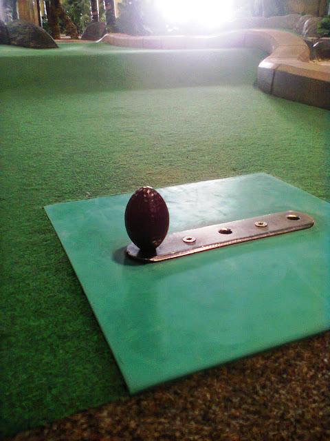 An egg-shaped golf ball