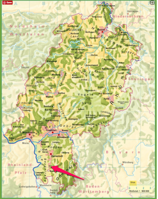 Climbing My Family Tree: Map of Hessen, Germany arrow points to Reichenbach (now Lautertal) area