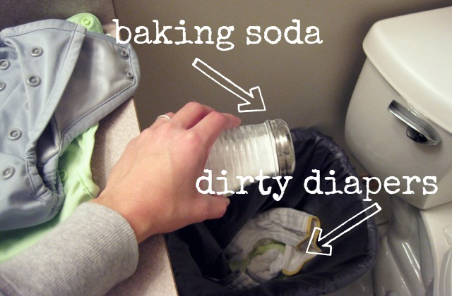 baking soda, shaker, dirty prefolds, cloth diapers, dry diaper pail
