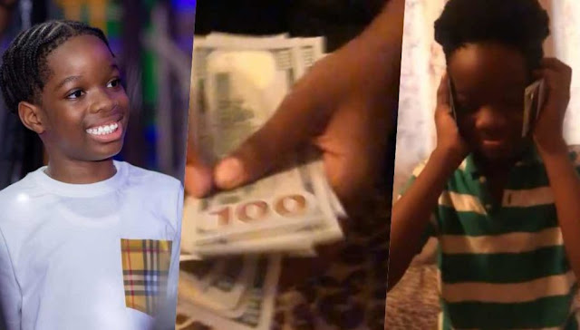 Watch the moment Wizkid son shows off the dollars his Father gifted him (Video)