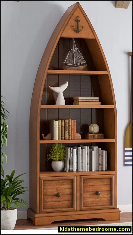 Boat Bookcase nautical bedrooms lake themed bedroom furniture log cabin furniture