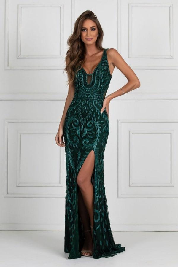 vestido de festa longo verde esmeraldo bordado