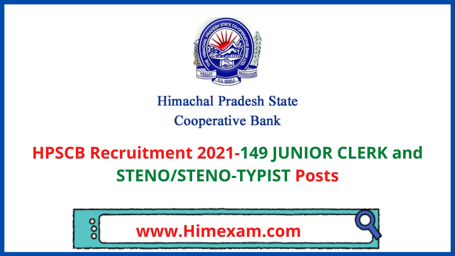 HPSCB Recruitment 2021-149 JUNIOR CLERK and STENO/STENO-TYPIST Posts