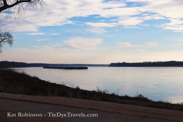 A barge on the Mississippi River at Hernando DeSoto River Park in Hernando, MS.