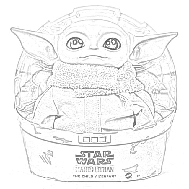 Printable Baby Yoda Coloring Page – Lux + Trip | 640x640